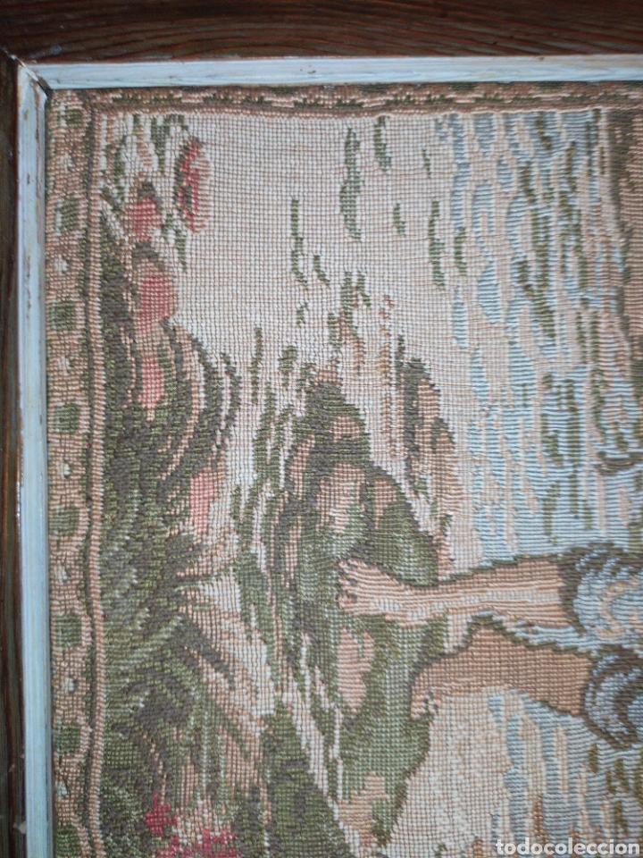 Antigüedades: ANTIGUO TAPIZ ENMARCADO ESCENA PASTORES VACA CHICO CHICA LAGO BOSQUE MONTAÑA PRECIOSO - Foto 10 - 253554005