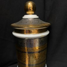 Antigüedades: EXCEPCIONAL ALBARELO O BOTE,PORCELANA, ADAMASCADA EN ORO Y PLATA. BOHEMIA SNEROLL. Lote 253560190