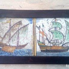 Antiquités: PAREJA DE AZULEJOS DE BARCOS ANTIGUOS. Lote 253624085