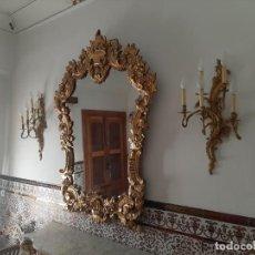 Antigüedades: PAREJA DE APLIQUES DEL XIX BRONCE CON ORO AL MERCURIO, ORIGINALES, GRANDES, PESADOS Y ÚNICOS. Lote 151434486