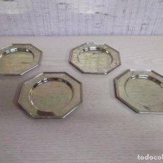 Antigüedades: 4 PLATITOS PARA PAN EN DORADO. Lote 253695680