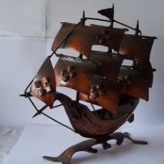 Antigüedades: BARCO DE METAL ANTIGUO, MADE IN SPAIN. VER FOTOS.. Lote 253709980