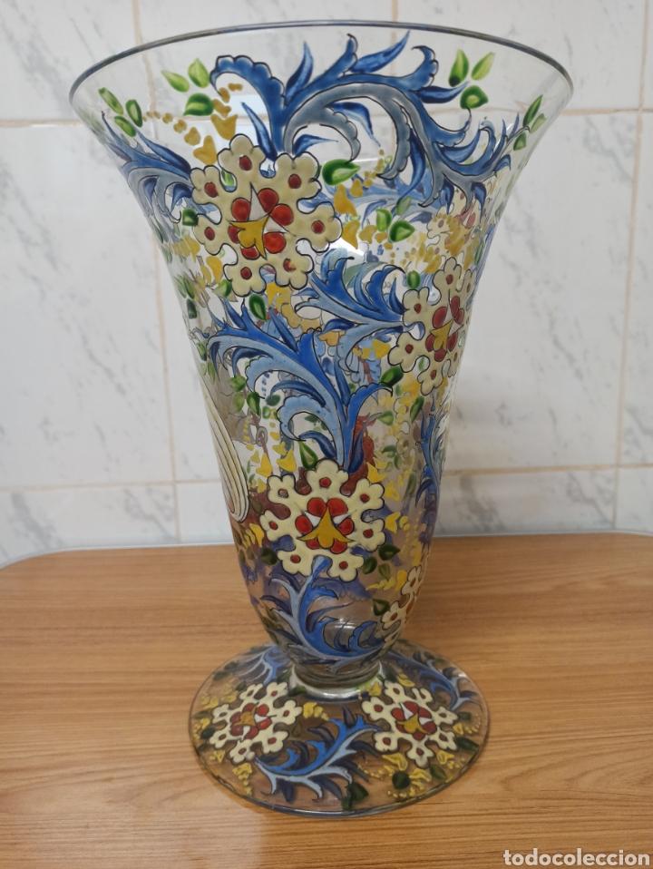 Antigüedades: Jarrón centro de mesa Genís Cirera Cristal Catalán esmaltado Siglo XIX 30,5 cm alto - Foto 4 - 253711905