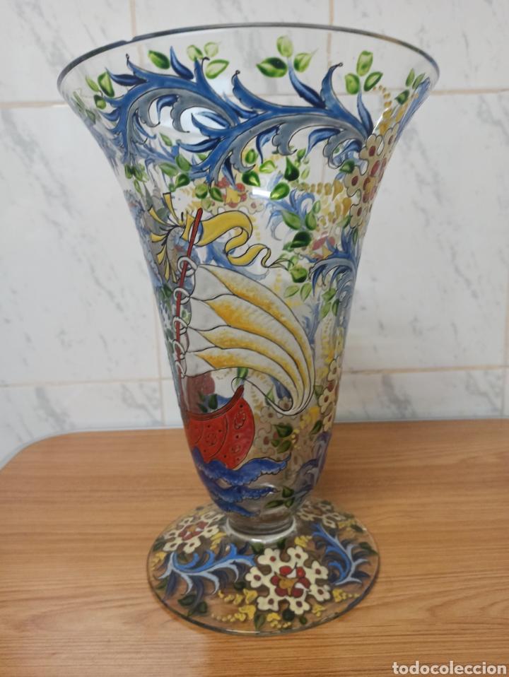 Antigüedades: Jarrón centro de mesa Genís Cirera Cristal Catalán esmaltado Siglo XIX 30,5 cm alto - Foto 5 - 253711905