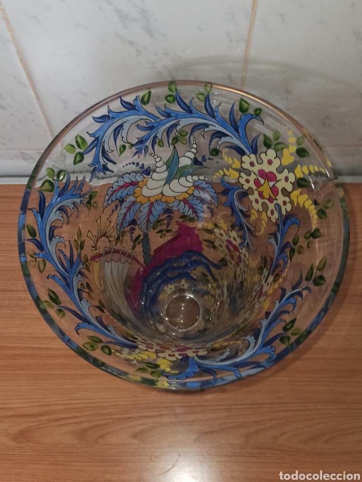 Antigüedades: Jarrón centro de mesa Genís Cirera Cristal Catalán esmaltado Siglo XIX 30,5 cm alto - Foto 7 - 253711905