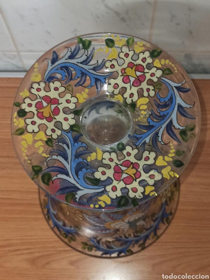 Antigüedades: Jarrón centro de mesa Genís Cirera Cristal Catalán esmaltado Siglo XIX 30,5 cm alto - Foto 8 - 253711905