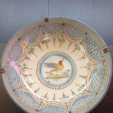 Antigüedades: RIBESALBES, ESPECTACULAR PLATO HONDO SIGLO XIX, DE 3O CM DIÁMETRO. Lote 253714755