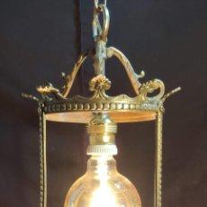 Antigüedades: EXCELENTE LUZ, FAROL ,LAMPARA, DE BRONCE CON BOMBILLA VINTAGE DE REGALO. Lote 253718010