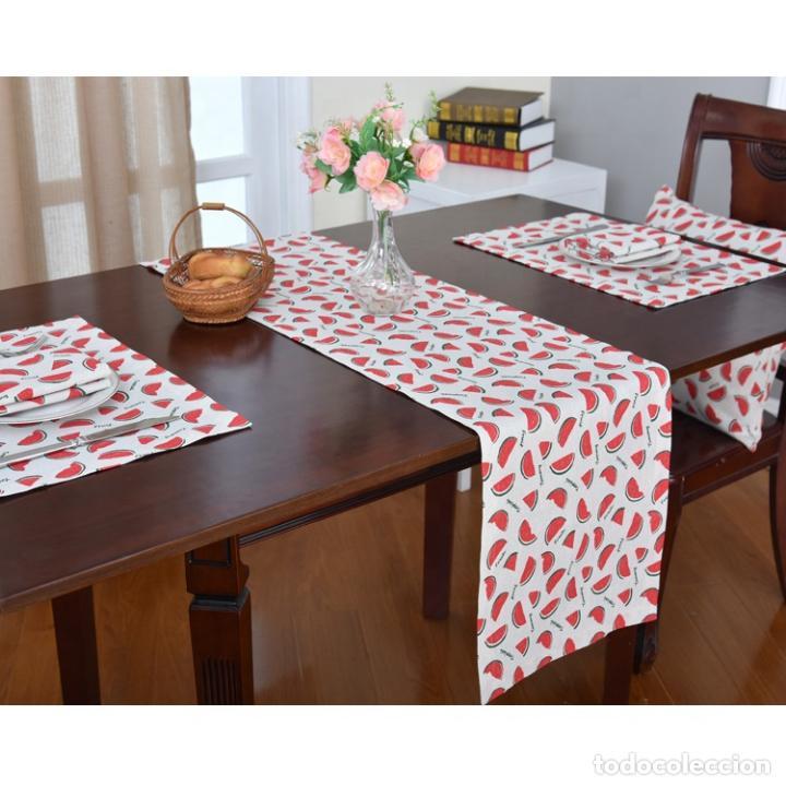 Antigüedades: Juego completo para la mesa. Lino estampado. 6 piezas.Stock viejo años 80 - Foto 2 - 253726285