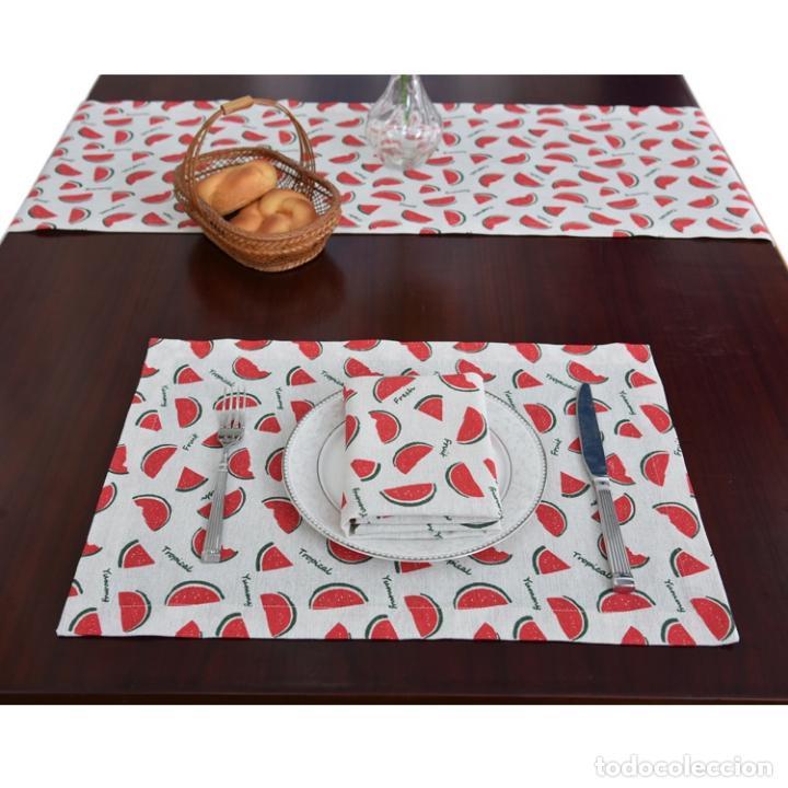 Antigüedades: Juego completo para la mesa. Lino estampado. 6 piezas.Stock viejo años 80 - Foto 3 - 253726285