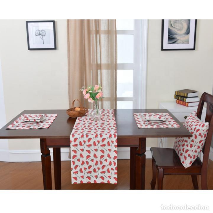 Antigüedades: Juego completo para la mesa. Lino estampado. 6 piezas.Stock viejo años 80 - Foto 5 - 253726285