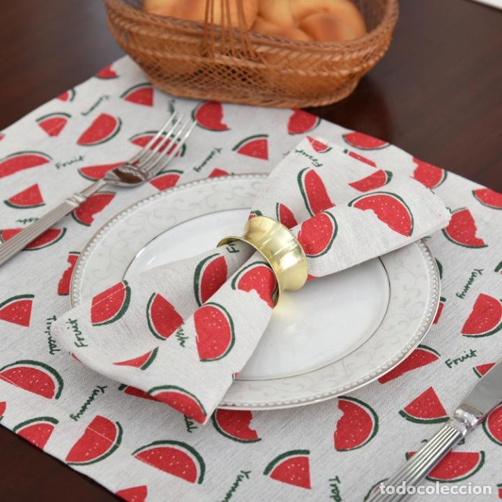 Antigüedades: Juego completo para la mesa. Lino estampado. 6 piezas.Stock viejo años 80 - Foto 13 - 253726285