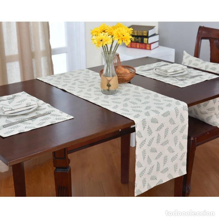 Antigüedades: Juego completo para la mesa. Lino estampado,hojas verdes. 6 piezas.Stock viejo años 80 - Foto 2 - 253730150