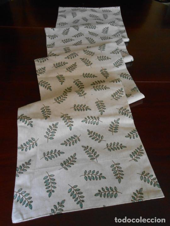 Antigüedades: Juego completo para la mesa. Lino estampado,hojas verdes. 6 piezas.Stock viejo años 80 - Foto 5 - 253730150