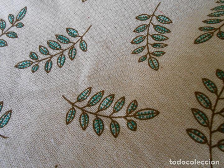 Antigüedades: Juego completo para la mesa. Lino estampado,hojas verdes. 6 piezas.Stock viejo años 80 - Foto 6 - 253730150