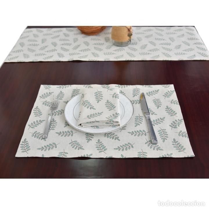 Antigüedades: Juego completo para la mesa. Lino estampado,hojas verdes. 6 piezas.Stock viejo años 80 - Foto 7 - 253730150