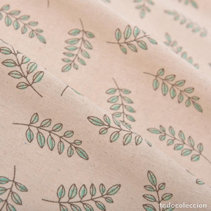 Antigüedades: Juego completo para la mesa. Lino estampado,hojas verdes. 6 piezas.Stock viejo años 80 - Foto 9 - 253730150