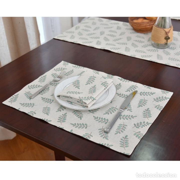 Antigüedades: Juego completo para la mesa. Lino estampado,hojas verdes. 6 piezas.Stock viejo años 80 - Foto 12 - 253730150
