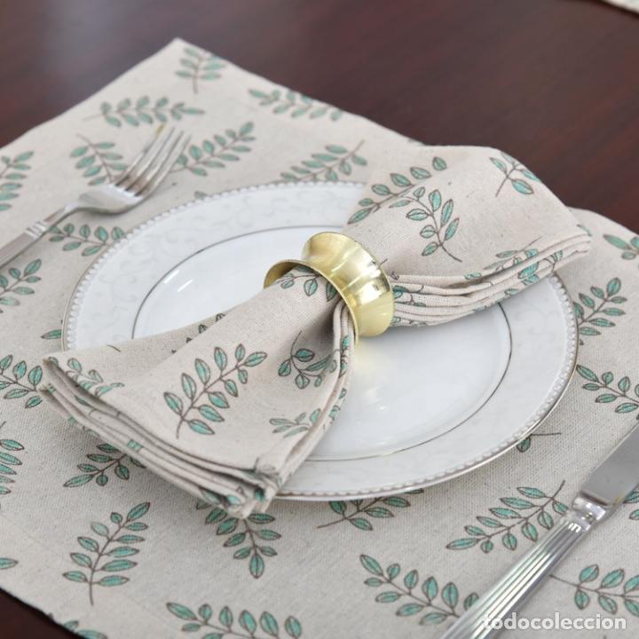 Antigüedades: Juego completo para la mesa. Lino estampado,hojas verdes. 6 piezas.Stock viejo años 80 - Foto 4 - 253730150