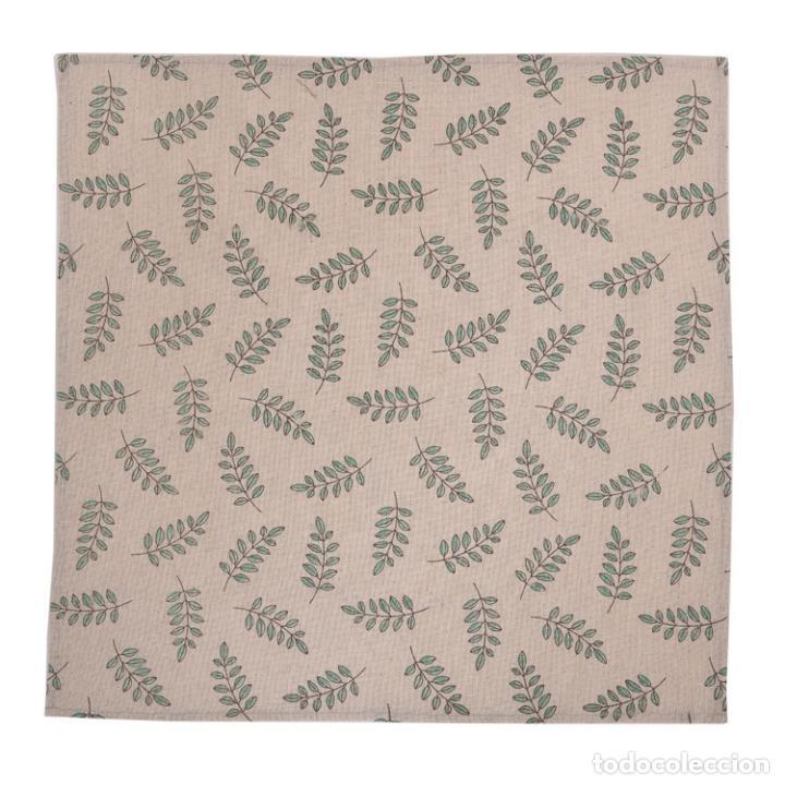 Antigüedades: Juego completo para la mesa. Lino estampado,hojas verdes. 6 piezas.Stock viejo años 80 - Foto 13 - 253730150