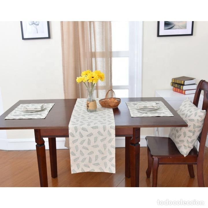 Antigüedades: Juego completo para la mesa. Lino estampado,hojas verdes. 6 piezas.Stock viejo años 80 - Foto 15 - 253730150
