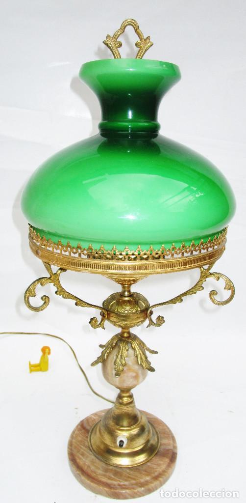 FANTASTICA GRAN LAMPARA DE BIBLIOTECA OPALINA VERDE BRONCE Y MARMOL (Antigüedades - Iluminación - Quinqués Antiguos)