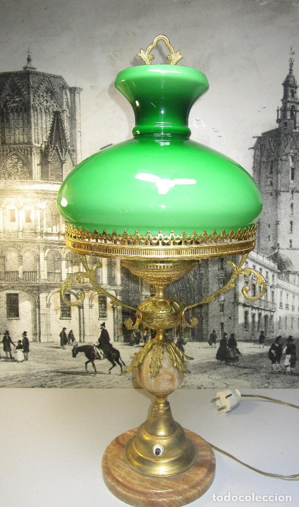 Antigüedades: FANTASTICA GRAN LAMPARA DE BIBLIOTECA OPALINA VERDE BRONCE Y MARMOL - Foto 2 - 253743180