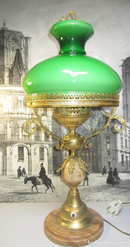 Antigüedades: FANTASTICA GRAN LAMPARA DE BIBLIOTECA OPALINA VERDE BRONCE Y MARMOL - Foto 3 - 253743180
