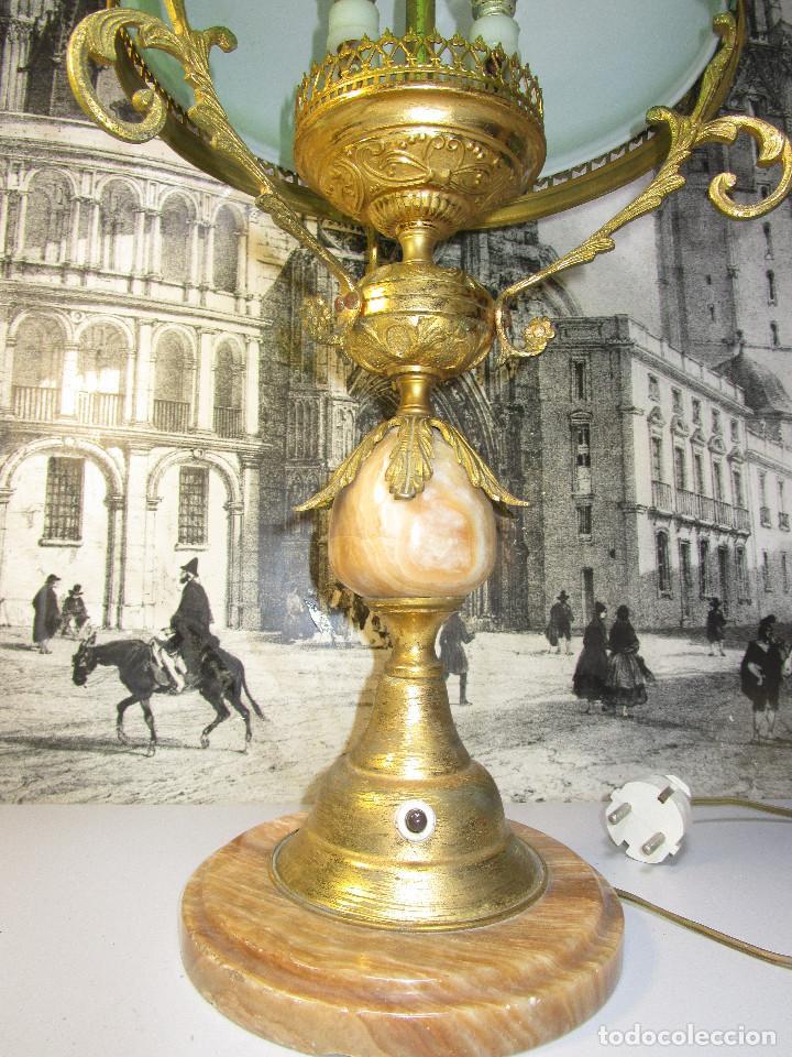 Antigüedades: FANTASTICA GRAN LAMPARA DE BIBLIOTECA OPALINA VERDE BRONCE Y MARMOL - Foto 4 - 253743180