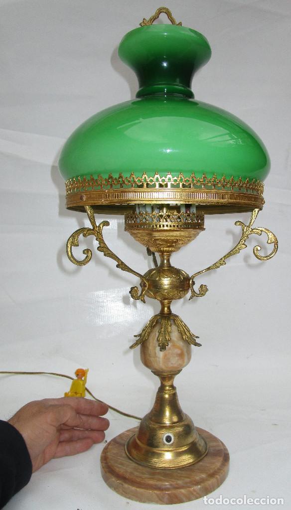 Antigüedades: FANTASTICA GRAN LAMPARA DE BIBLIOTECA OPALINA VERDE BRONCE Y MARMOL - Foto 5 - 253743180