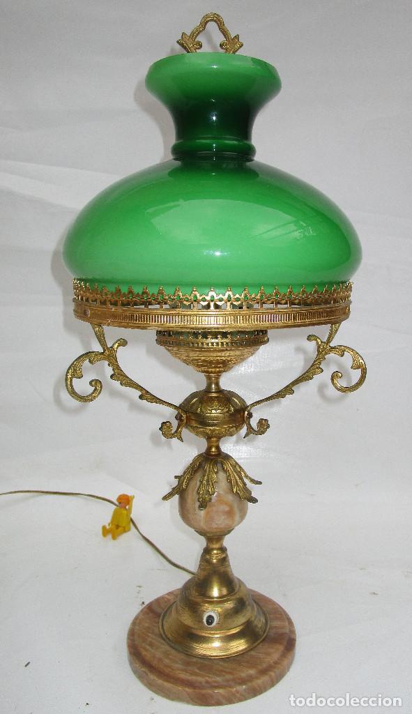 Antigüedades: FANTASTICA GRAN LAMPARA DE BIBLIOTECA OPALINA VERDE BRONCE Y MARMOL - Foto 6 - 253743180