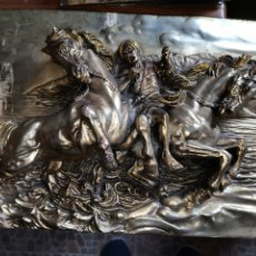Antigüedades: ESCENA CABALLOS RELIEVE BAÑADO PLATA 925. Lote 253786380