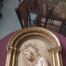 Antigüedades: IMAGEN RETABLO YESO VIRGEN AVE MARÍA CON LUZ. Lote 253811600