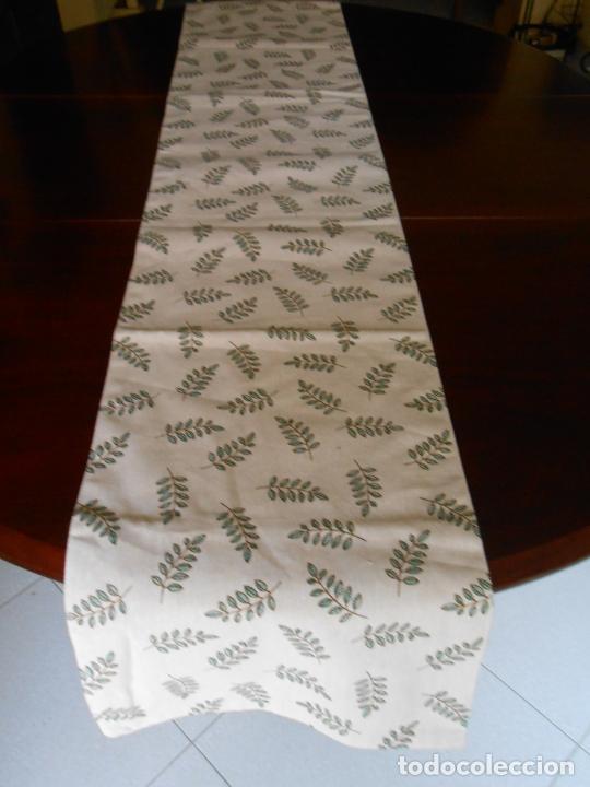 Antigüedades: Juego completo para la mesa. Lino estampado,hojas verdes. 6 piezas.Stock viejo años 80 - Foto 16 - 253730150