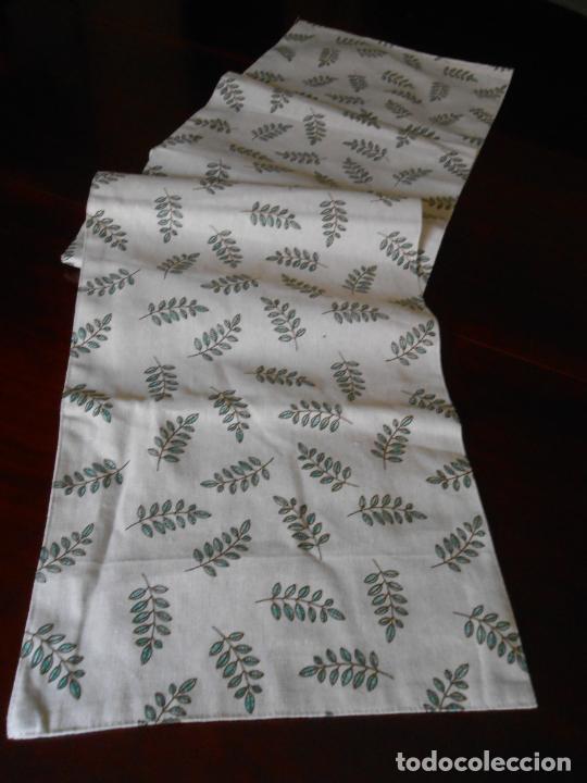 Antigüedades: Juego completo para la mesa. Lino estampado,hojas verdes. 6 piezas.Stock viejo años 80 - Foto 20 - 253730150