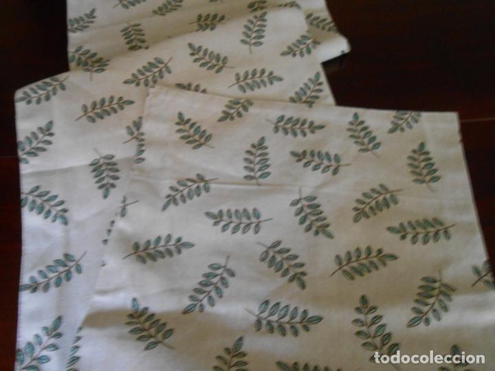 Antigüedades: Juego completo para la mesa. Lino estampado,hojas verdes. 6 piezas.Stock viejo años 80 - Foto 25 - 253730150