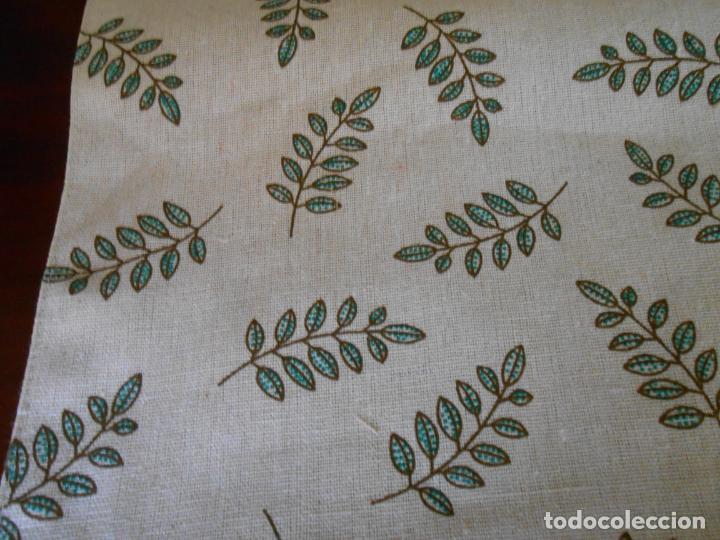 Antigüedades: Juego completo para la mesa. Lino estampado,hojas verdes. 6 piezas.Stock viejo años 80 - Foto 26 - 253730150
