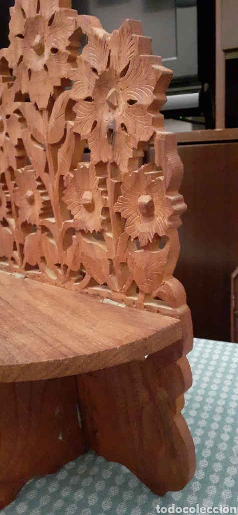 Antigüedades: Mensula o repisa tallada en madera, Made in India, plegable, 38 x 25 cm - Foto 4 - 253919105
