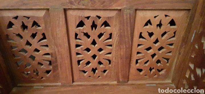 Antigüedades: Mueble Repisa tallada en madera, de la India es plegable, 40x38x15 cm de fondo - Foto 12 - 253920615