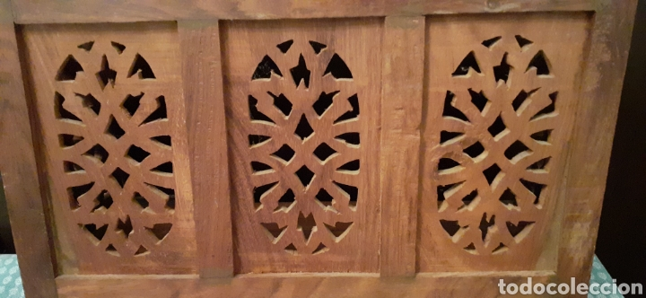 Antigüedades: Mueble Repisa tallada en madera, de la India es plegable, 40x38x15 cm de fondo - Foto 15 - 253920615
