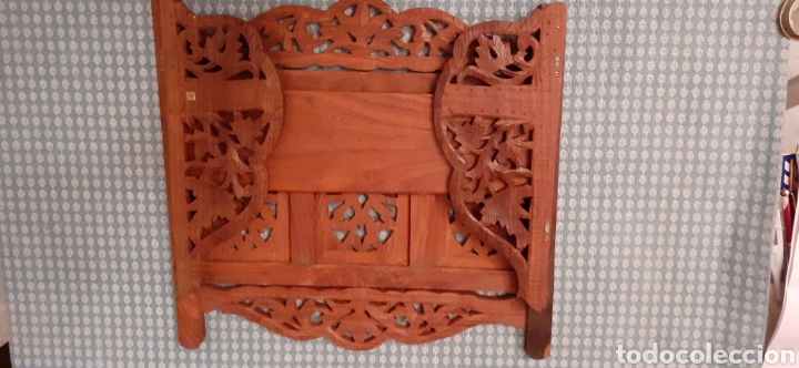 Antigüedades: Mueble Repisa tallada en madera, de la India es plegable, 40x38x15 cm de fondo - Foto 18 - 253920615