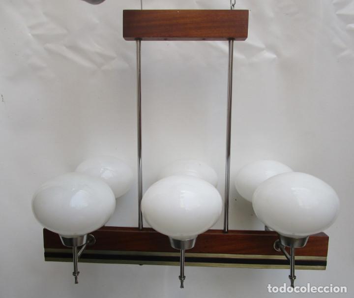 Antigüedades: ELEGANTISIMA LAMPARA MIDCENTURY EN TEKA LATON Y TULIPAS OPALINAS - Foto 11 - 253929595
