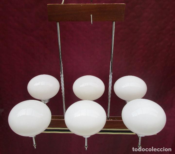 Antigüedades: ELEGANTISIMA LAMPARA MIDCENTURY EN TEKA LATON Y TULIPAS OPALINAS - Foto 14 - 253929595