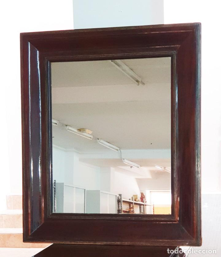 ESPEJO ISABELINO - JACARANDA Y ZINC - 87,5 X 75,8 CM. (Antigüedades - Muebles Antiguos - Espejos Antiguos)