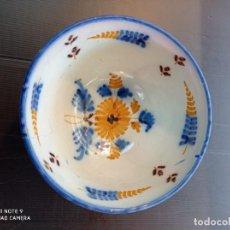 Antigüedades: TALAVERA ANTIGUO CUENCO DEVORADO CON BONITOS DIBUJOS SIGLO XIX. Lote 253944350