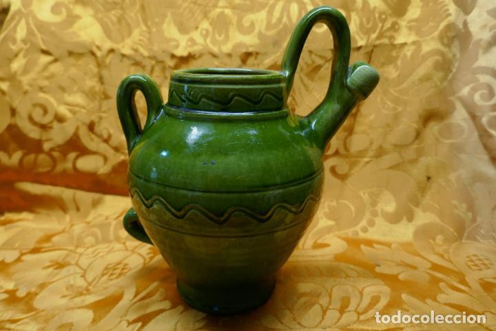 BOTIJO VERDE DE CERAMICA VIDRIADA, HERMANOS ALMARZA UBEDA (Antigüedades - Porcelanas y Cerámicas - Úbeda)