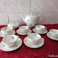 Antigüedades: PRECIOSO JUEGO DE CAFÉ DE PORCELANA J.SELTMANN VIHENSTRAUB,DECORADO CON PEQUEÑAS FLORES EN ORO.. Lote 253961575