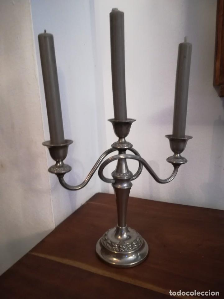 """Antigüedades: Magnífico candelabro """"silver plated"""" IANTHE de origen inglés, de principios del SXX y estilo moderni - Foto 2 - 253973715"""