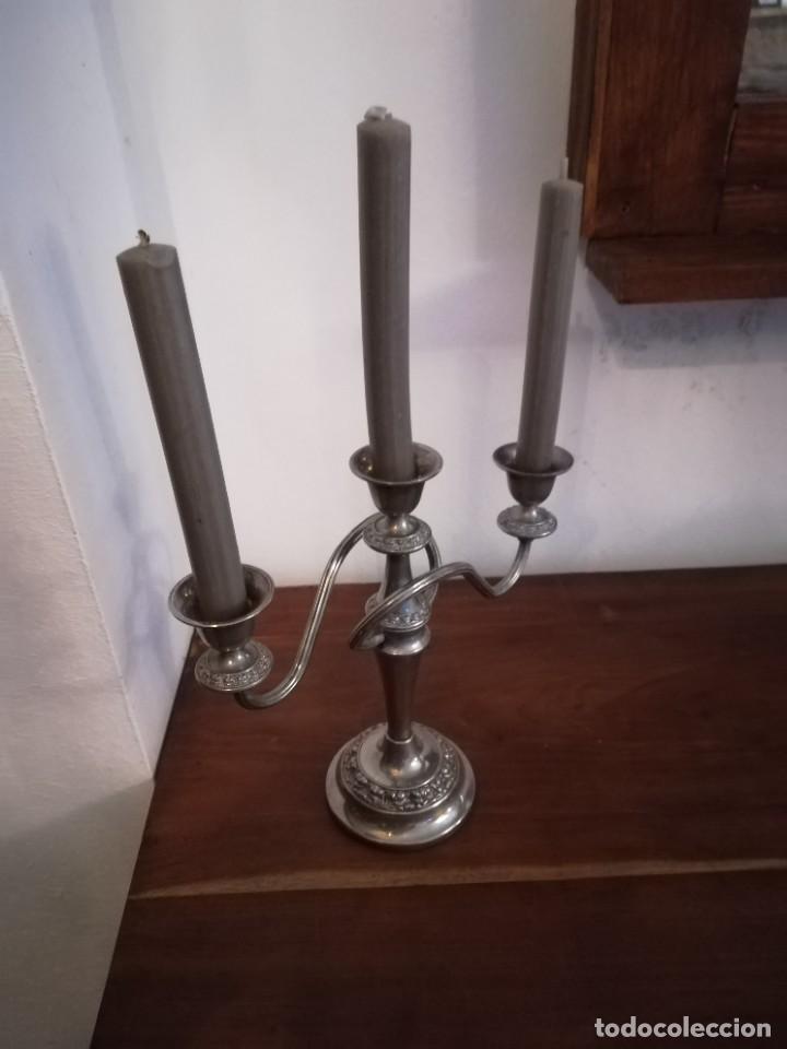 """Antigüedades: Magnífico candelabro """"silver plated"""" IANTHE de origen inglés, de principios del SXX y estilo moderni - Foto 6 - 253973715"""