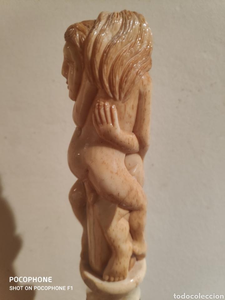 Antigüedades: Antiguo bastón erótico en hueso vara en madera - Foto 8 - 253995645